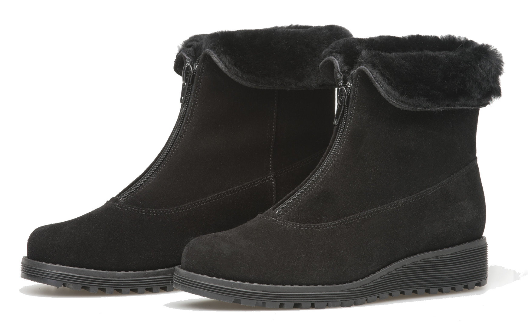Ankle boot with front zipper black suede