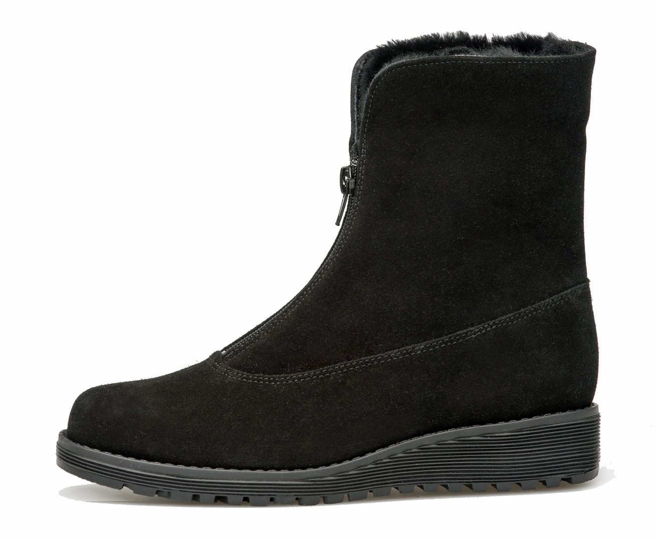 Ankle Boot With Front Zipper Black Suede High Quality