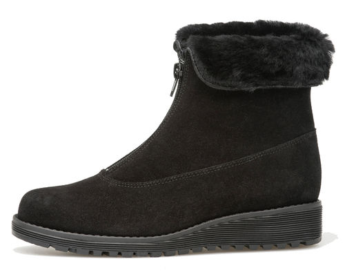 Palmroth ankle boot with front zipper black suede