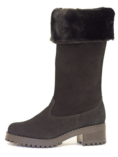 Fold down tall boot black suede 84115