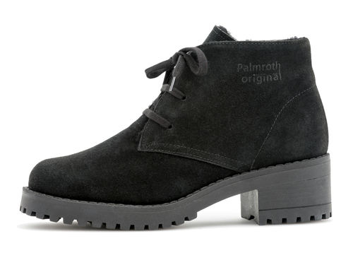 Ankle boot with laces black suede