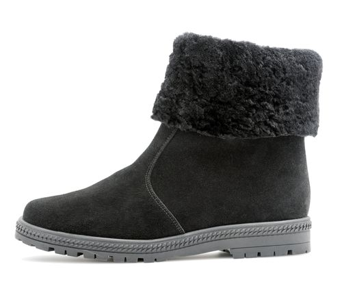 Ankle boot with lamb fur collar black suede