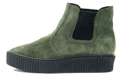 Chunky chelsea boot green suede