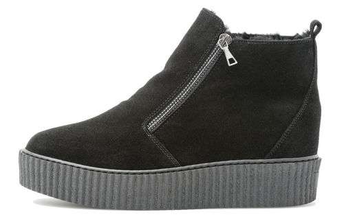 Chunky double zip boot black suede