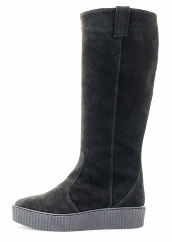 Chunky boot black suede 84148