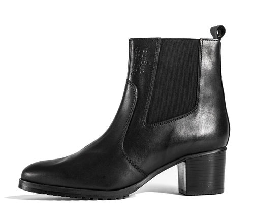 Mid high heel ankle boot black leather -30%