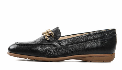 Chain loafer black leather