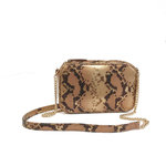 Small crossbody bag in blush gold snake